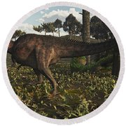Acrocanthosaurus Dinosaur Roaming Round Beach Towel