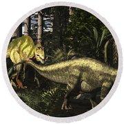 Acrocanthosaurus Hunting Tenontosaurus Round Beach Towel