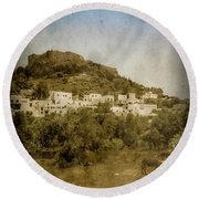 Rhodes, Greece - Acropolis Of Lindos Round Beach Towel by Mark Forte
