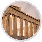 Acropolis Parthenon At Sunset Round Beach Towel
