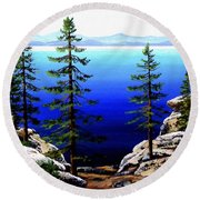 Across Lake Tahoe Round Beach Towel