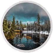 Across The Dam Round Beach Towel