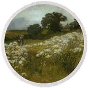 Across The Fields Round Beach Towel by John Mallord Bromley