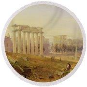 Across The Forum - Rome Round Beach Towel by Hugh William Williams