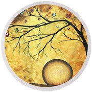 Across The Golden River By Madart Round Beach Towel