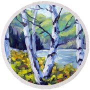 Across The Lake Round Beach Towel