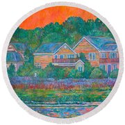 Across The Marsh At Pawleys Island       Round Beach Towel