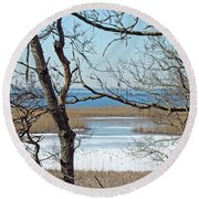 Across The Marsh To Woodneck Beach - Cape Cod Round Beach Towel