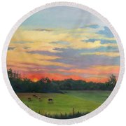 Across The Pasture Round Beach Towel