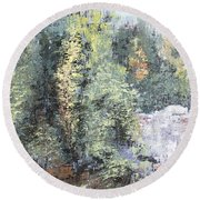 Across The Ravine Round Beach Towel