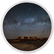 Across The Universe - Milky Way Galaxy Over Mesa In Arizona Round Beach Towel