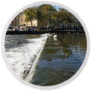 Across The Weir At Bakewell Round Beach Towel