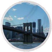 Across To Manhattan New York New York Round Beach Towel