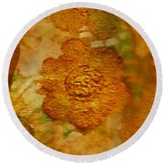 Acryl Painting Goldflowers Round Beach Towel