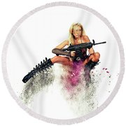Action Girl Round Beach Towel