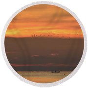 Activity On Lake Simcoe  Round Beach Towel