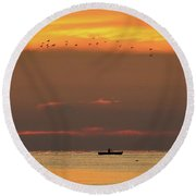 Activity On Lake Simcoe Two  Round Beach Towel
