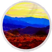Acton California Sunset Round Beach Towel