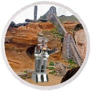 Actor Jonathan Harris As Dr Smith From Lost In Space II Round Beach Towel