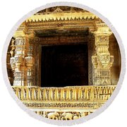 Adalaj Stepwell 3 Round Beach Towel