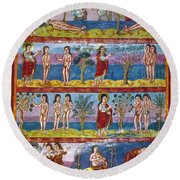 Adam And Eve. 9th Century Round Beach Towel