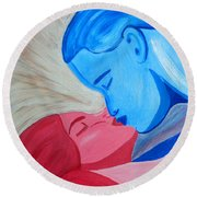 Adam And Eve Close Up Round Beach Towel