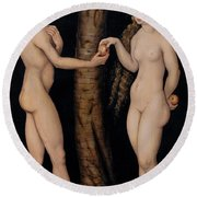 Adam And Eve In The Garden Of Eden Round Beach Towel