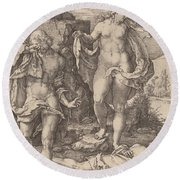 Adam And Eve Lamenting The Death Of Abel Round Beach Towel