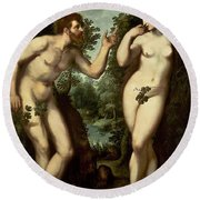 Adam And Eve Round Beach Towel by Peter Paul Rubens