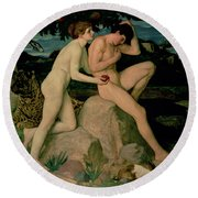 Adam And Eve  Round Beach Towel by William Strang