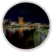 Adelaide Riverbank At Night Iv Round Beach Towel