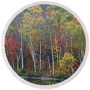 Adirondack Birch Foliage Round Beach Towel