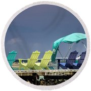Adirondack Chairs At Coyaba Mahoe Bay Jamaica. Round Beach Towel