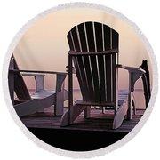 Adirondack Chairs Dockside At Lavender Haze Twilight Round Beach Towel
