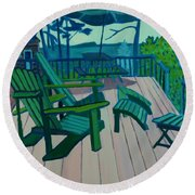 Adirondack Chairs Maine Round Beach Towel
