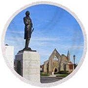 Admiral Lord Nelson And Royal Garrison Church Round Beach Towel