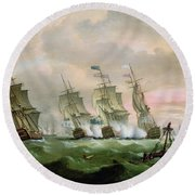 Admiral Sir Edward Hawke Defeating Admiral De Conflans In The Bay Of Biscay Round Beach Towel by Thomas Luny