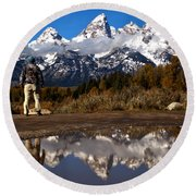 Admiring The Teton Sights Round Beach Towel