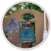 Adobe Wall Chimayo  Round Beach Towel