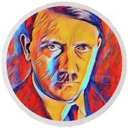 Adolf Hitler, Leaders Of Wwii Series.  Round Beach Towel