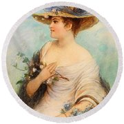 Adolphe Philippe Millot Round Beach Towel