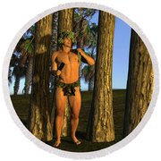 Adonis At Sunset Round Beach Towel