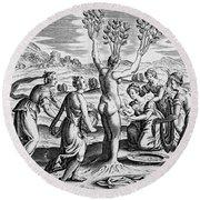 Adonis Being Born From Myrrha Round Beach Towel