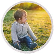 Adorable Baby Playing Outdoors Round Beach Towel