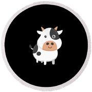 Adorable Cow Cute Baby Calf Round Beach Towel