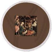 Adoration Of The Child With Saints 1460 65 Fra Filippo Lippi Round Beach Towel
