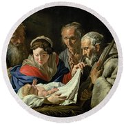 Adoration Of The Infant Jesus Round Beach Towel
