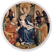 Adoration Of The Magi Altarpiece Round Beach Towel by Stephan Lochner