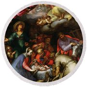 Adoration Of The Shepherds Round Beach Towel