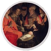 Adoration Of The Shepherds Round Beach Towel by Georges de la Tour